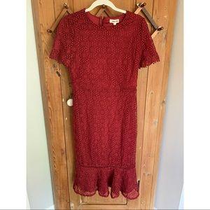 Hidden Alley maroon woven midi pencil dress